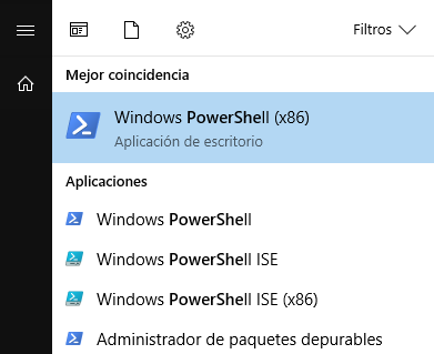Menu buscar PowerShell